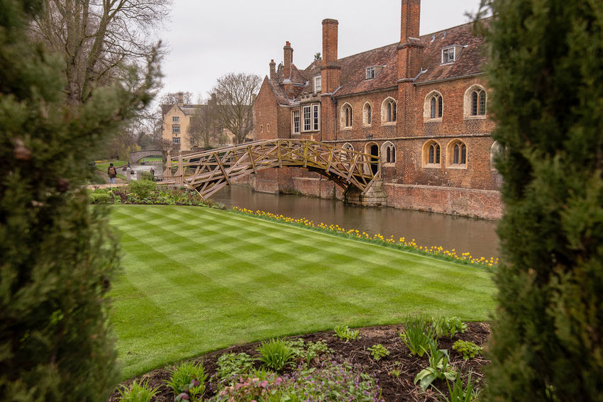 The mathematical Bridge also known as the Wooden Bridge designed by William Etheridge crossing the River Cam to connect 2 parts of Queens' College in Cambridge, UK. Mathematical Bridge River Cam Architecture Building Building Exterior Built Structure Cambridge Canal Day Grass Green Color History Nature Outdoors Plant Sky The Past Tourism Travel Travel Destinations Tree Water