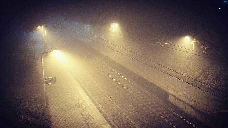Illuminated Night No People Outdoors Kato  Katowice Cityscapes Vscokato City Foggy Night Fog Train Station