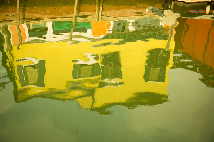 A Day in Burano Canal Close-up Colourful House Day Green Color No People Reflection Travel Destinations Travel Photography Water Yellow Paint The Town Yellow
