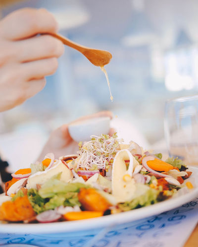 Close-up Day Focus On Foreground Food Food And Drink Freshness Healthy Eating Human Body Part Human Hand Indoors  One Person People Plate Ready-to-eat Real People Salad Seafood Serving Size Table