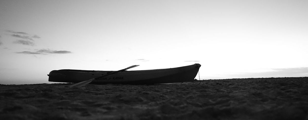 empty kayak Vacation Holiday Blackandwhite Monochrone Bnw Kayak Boat No People Silhouette Abandoned Animal Wildlife Nature Day UnderSea Outdoors Sky