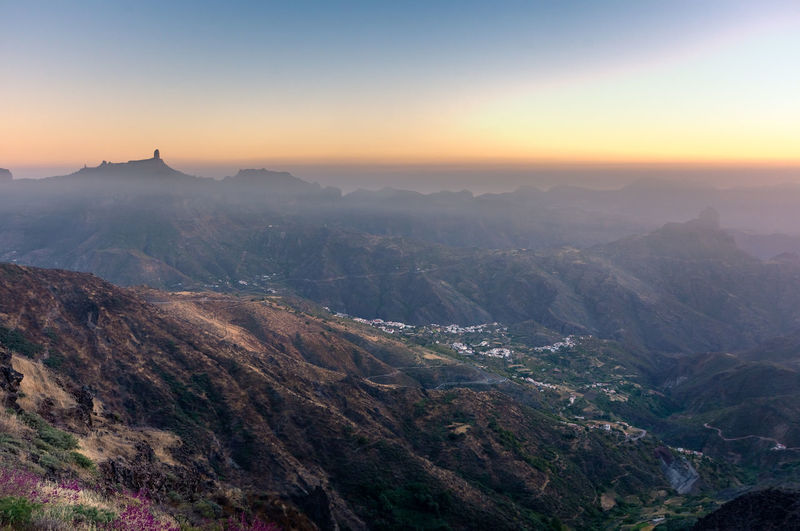 Sunset in the mountains at Gran Canaria, with views over Roque Nublo Canary Islands Clear Sky Gran Canaria Roque Nublo SPAIN Soft Light Beauty In Nature Environment Idyllic Landscape Mist Mountain Mountain Range Nature No People Non-urban Scene Outdoor Photography Outdoors Scenics - Nature Sky Summer Sunset Terrain Tranquil Scene Tranquility
