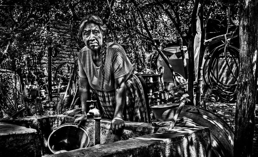Grandma from Santa Fe Rural Washing Bnw, Day Front View Grandma Happiness Lifestyles Looking At Camera Mature Adult One Person Portrait Real People