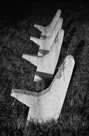 Bench Blackandwhite Close-up Grass Minimal Minimalism Night No People Old Outdoors Perspective Ruined Shadow Special