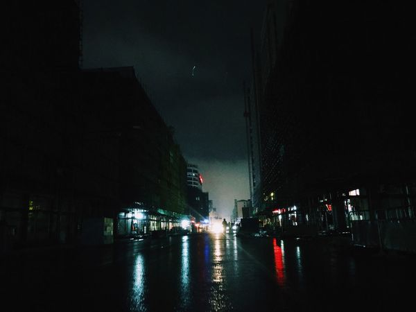 Night Illuminated City Building Exterior Architecture Built Structure Street Dark City Street Sky