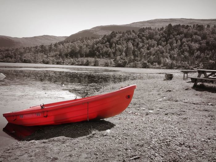 Norway Beach Beauty In Nature Black And Red Colour Day Inflatable  Lake Land Mode Of Transportation Moored Mountain Nature Nautical Vessel No People Non-urban Scene Outdoors Rowboat Scenics - Nature Sky Tranquil Scene Tranquility Transportation Tree Water