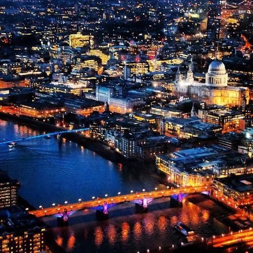 London from the Shard Stpaulscathederal Cathederal SouthLondon Dusk Nighttime Skyline Thames
