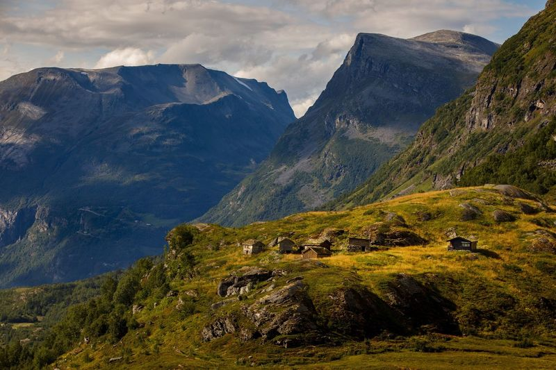 Norway Nature Mountain Village Village Mountain Scenics - Nature Beauty In Nature Mountain Range Tranquil Scene Plant Landscape Environment Nature Sky Green Color Tranquility Land Day Cloud - Sky Idyllic