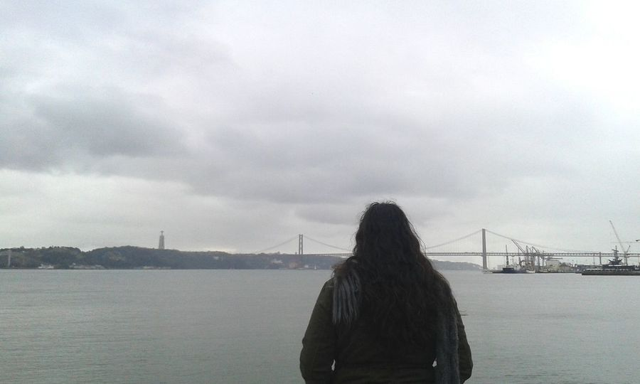 Cloudy Cloudy Skies Cloudy Weather⛅☁ River River View Tejo River Autmn Winter Wintertime Girl Photography Photoeyeem Lisbon