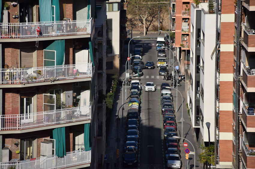 Barcelona's street. High angle of view. Architecture City Building Exterior Building Residential District High Angle View Outdoors City Life Street Apartment In A Row Mode Of Transportation Car Day Motor Vehicle Urban Barcelona Europe