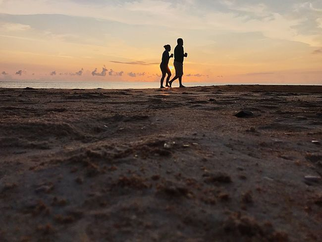Love in the morning Hanging Sky Ocean Outdoors Nature Two People Sunrise Horizon Over Water Beauty In Nature Sand Tranquility Beach Be. Ready.
