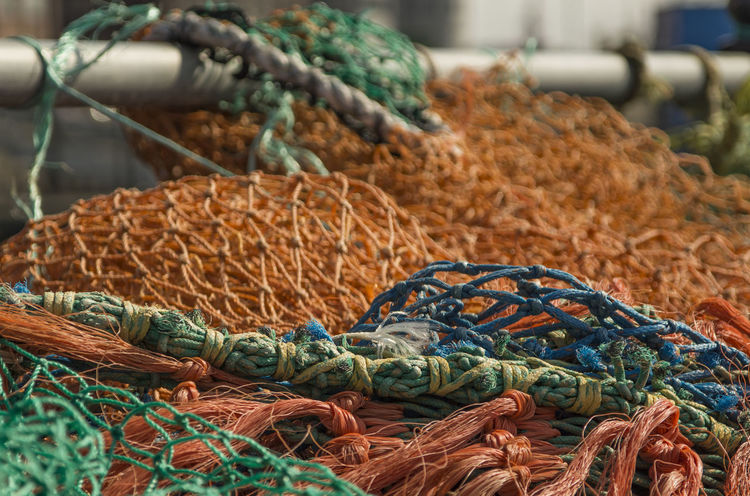 Fishing nets and ropes on Harwich Pier, Essex, England Cat Catch Close-up Coast Day England Essex Fishing Equipment Fishing Net Harwich Industry Nets No People Rope
