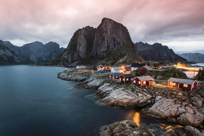 Hamnoy - Norway Norway Beauty In Nature Hamnøy Idyllic Mountain Mountain Peak Nature Scenics - Nature Sky Sundown Sunset Water