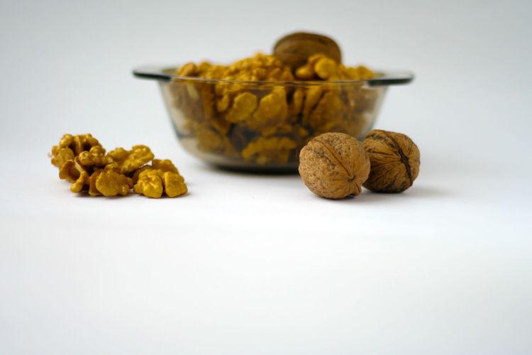 Nuts Dish Nature Nuts Blur Close-up Food Freshness Natural Food Platter Studio Shot Walnuts White Background