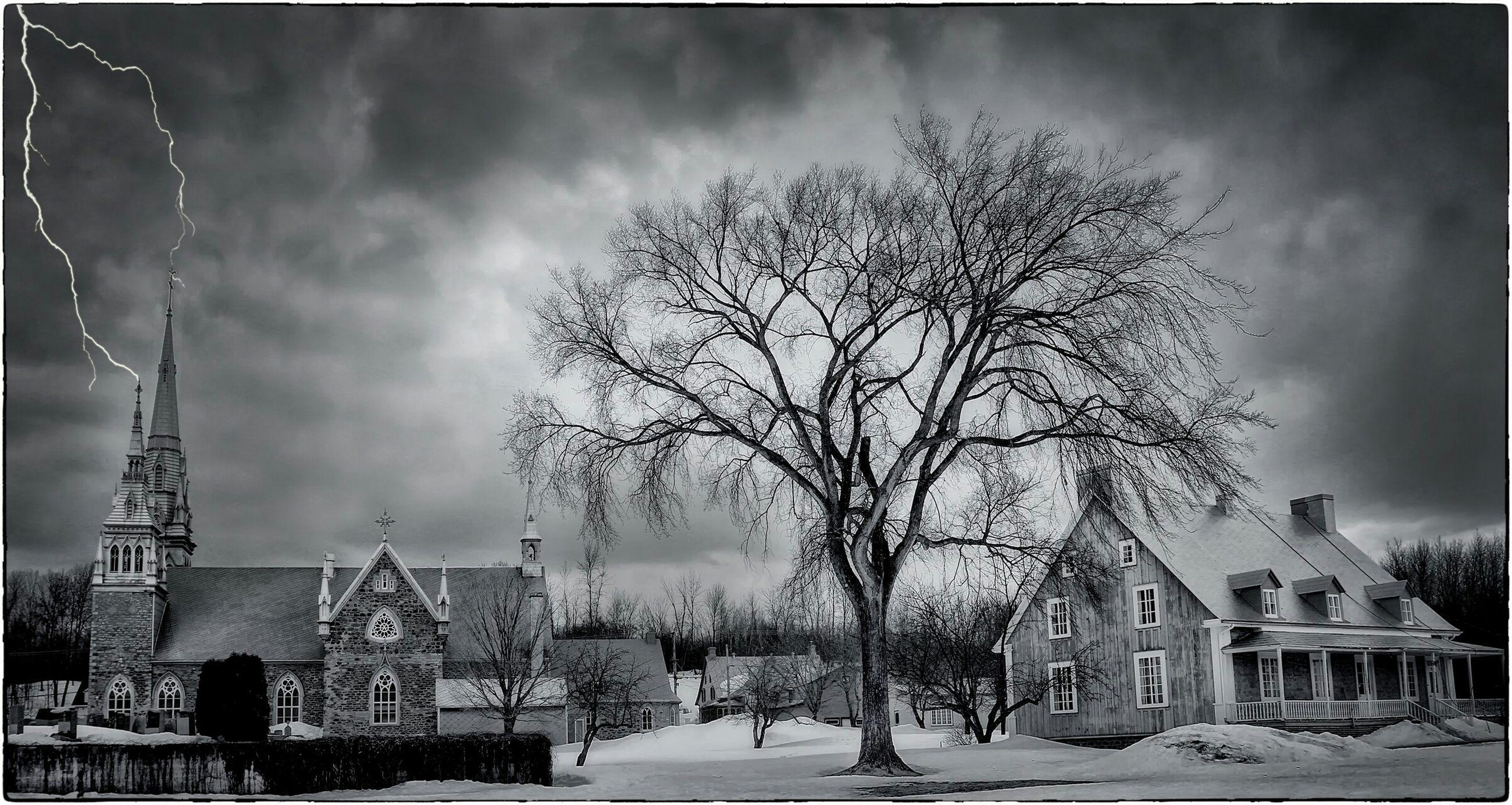 building exterior, architecture, built structure, sky, tree, bare tree, cloud - sky, city, cloudy, silhouette, cloud, city life, incidental people, building, weather, outdoors, dusk, men, travel destinations