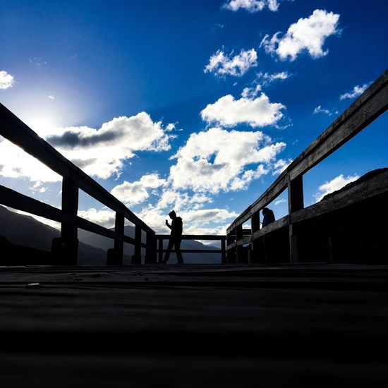 Lines Bridge - Man Made Structure Sky Connection Cloud - Sky Silhouette Built Structure Day One Person Outdoors
