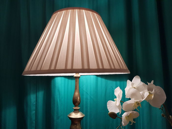 Close-up of illuminated electric lamp by white flowers at home