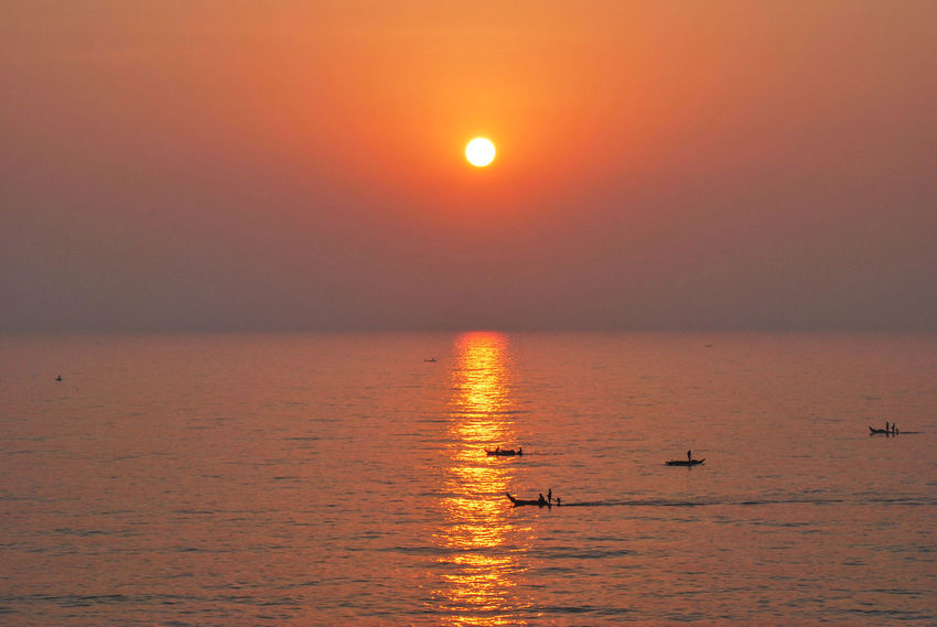 Bay Of Bengal India Morning Scenes Pondicherry Beauty In Nature Bird Day Horizon Over Water Moon Nature Nautical Vessel No People Outdoors Reflection Scenics Sea Silhouette Sky Sun Sunlight Sunset Tranquil Scene Tranquility Water Waterfront EyeEm Ready