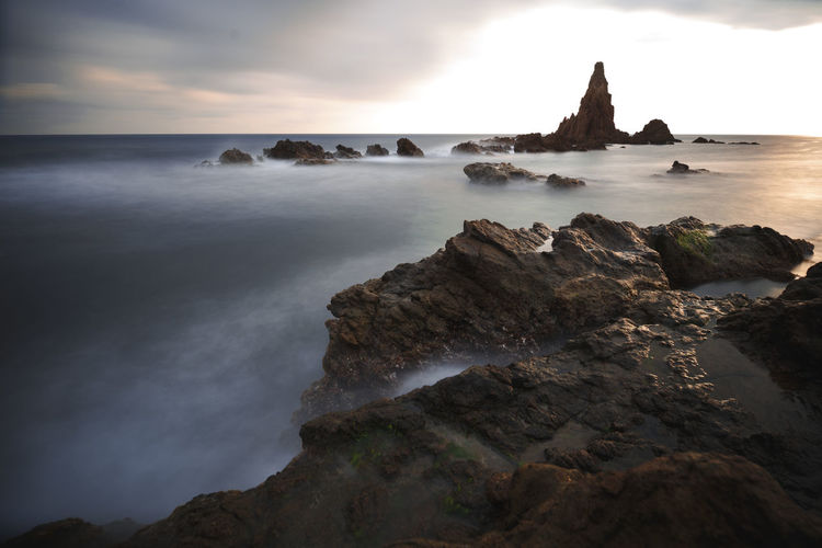 Sea Sky Water Beauty In Nature Scenics - Nature Land Nature Ocean Silky Water Sunset Long Exposure Rock Formation