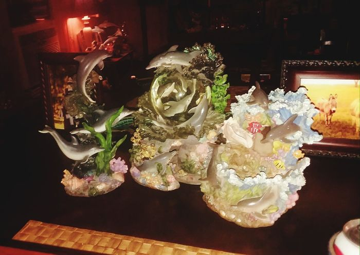 Ocean coral and sea creatures sculptures. Home show place beautiful! In door lighting display
