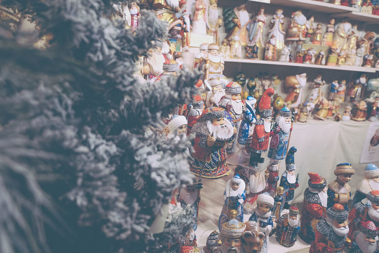 Figurines for sale at market stall in store