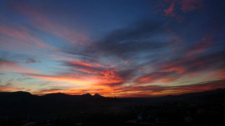 Sunset Landscape Clouds Pink Blue Sky Haced