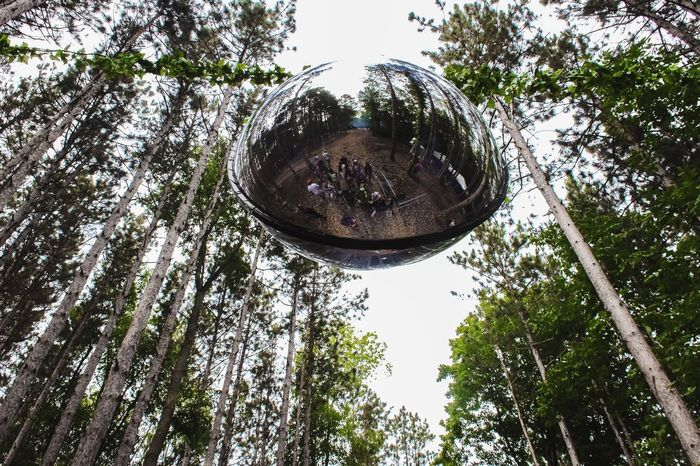 Reflection Low Angle View Day Outdoors Fish-eye Lens Sky Nature No People Festival Festival Season Electric Forest Tree