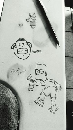 Duck Monkey Bart Simpson In Class Bored Eduardo Ramirez 💙 Taking Notes