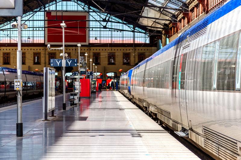 Sunlight falling on train at gare de marseille-saint-charles