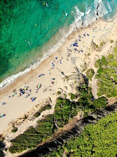 Sea Beach High Angle View Land Sand Water Day Nature Sea Sunlight Green Color Summer Outdoors Beauty In Nature