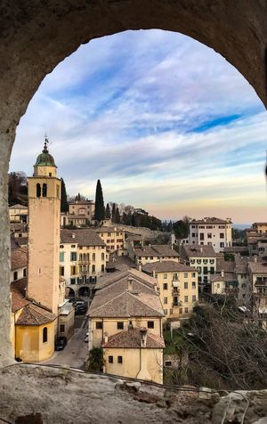 Shotoniphone7 ShotOnIphone Bell Tower Clear Sky Asolo, Italy Asolo Through The Window Architecture Built Structure Building Exterior Sky Cloud - Sky Day No People Outdoors Tree City Cityscape
