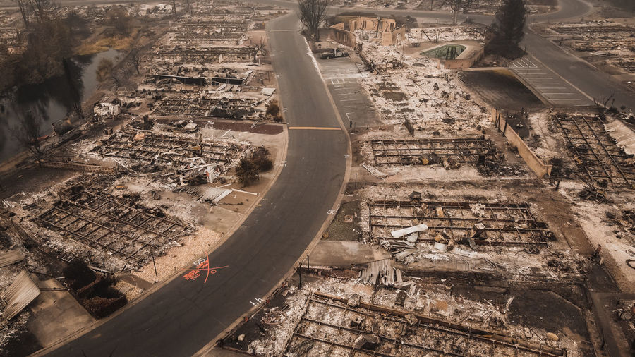 Aerial view of burned mobile home park after the almeda wildfire in southern oregon talent phoenix