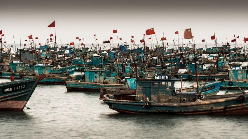EyeEm Best Shots Harbor Work China Crowded Fisherman Fishing Flag Flags Harbor Many Mast Moored Nautical Vessel No People Outdoors Patriotism Sea Ships Transportation Water