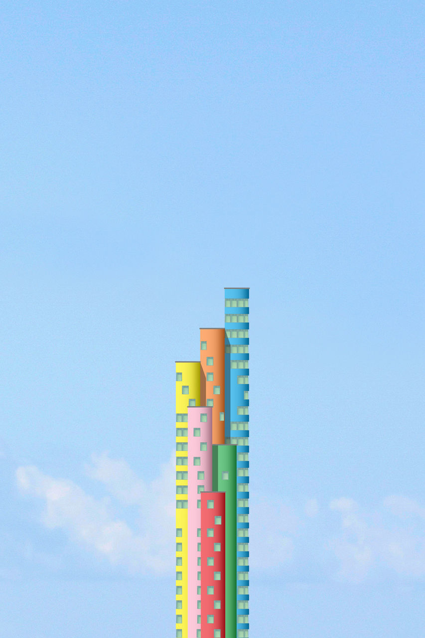 sky, low angle view, built structure, copy space, architecture, blue, no people, building exterior, nature, building, day, tower, tall - high, cloud - sky, outdoors, multi colored, sunlight, metal, communication, factory