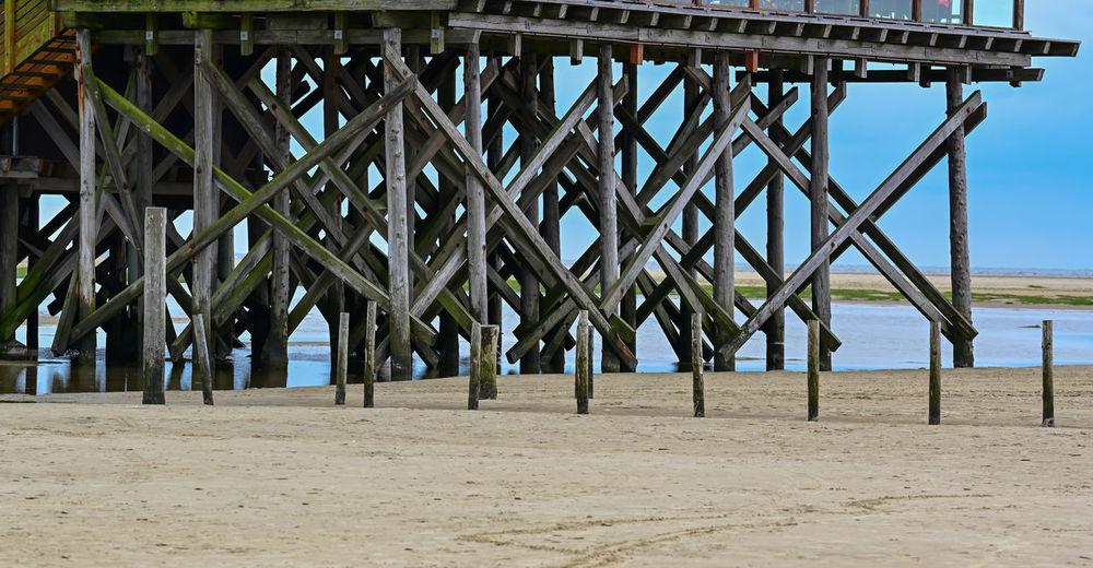 Full frame shot of pier on beach against clear sky