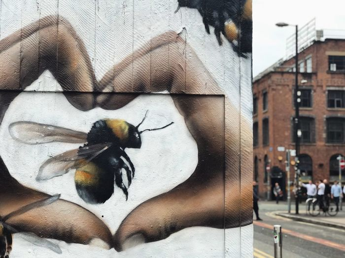 Bee 🐝 Bumble Bee Bumblebee Graffiti Love Manchester Manchester UK Peace Animal Themes Architecture Art Bee Building Exterior Bumble Bee 🐝 Day Graffiti & Streetart Graffiti Art Graffiti Wall Graffitiart Graffitiporn Graffitti Grafitti Heart Heart Shape Outdoors