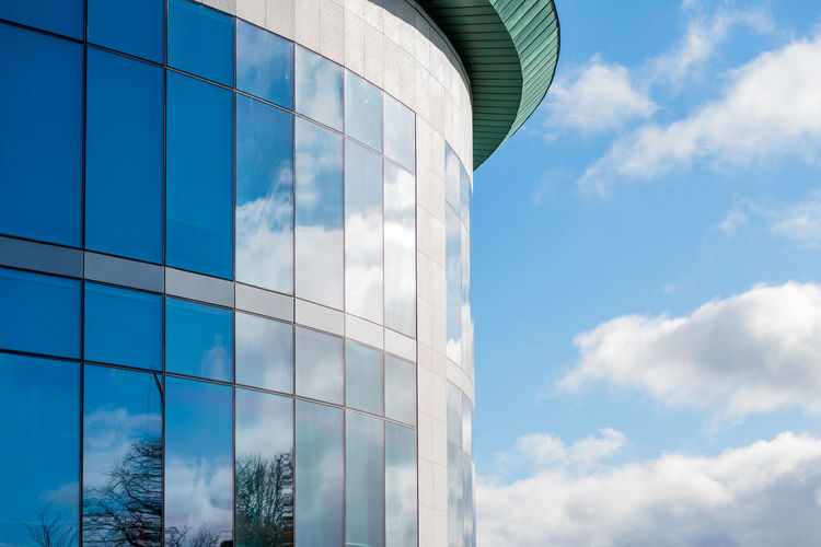 Bright sunny view of modern office building in UK Architecture Building Exterior Cloud - Sky Built Structure Sky Low Angle View Glass - Material Building Day Modern Office Building Exterior Nature No People Reflection Office City Outdoors Blue Tower Sunlight Skyscraper