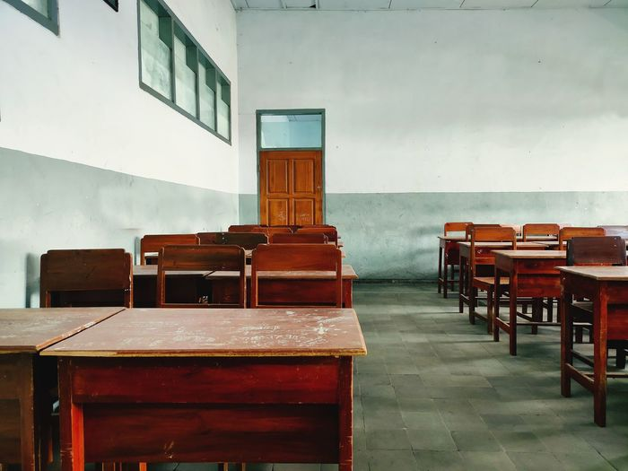 Empty classroom because of covid-19