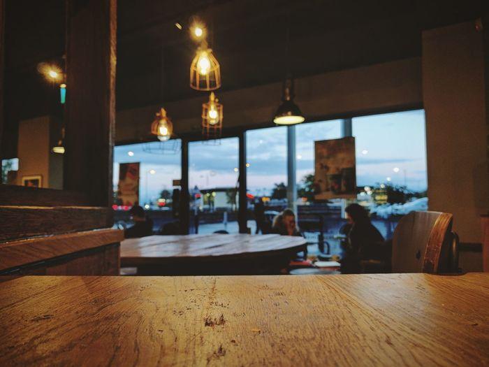 Restaurant Illuminated Modern Night Coffee Wood Wooden Cosy Warm Warmth