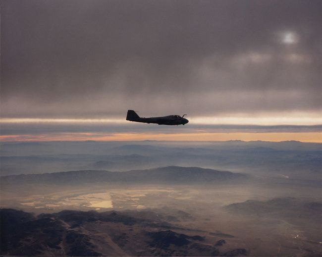 A6 over Panamint Valley sunrise. Cloud - Sky Flying Idyllic Landscape Mid-air Military Airplane Sky Sunrise And Clouds