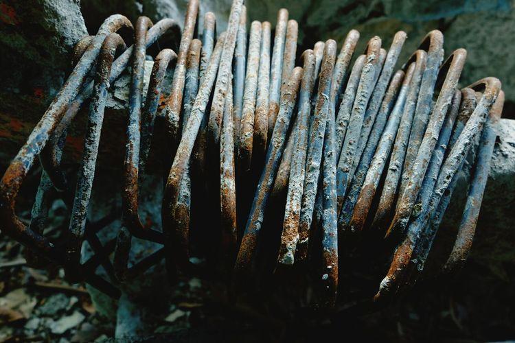 High angle view of abandoned metal