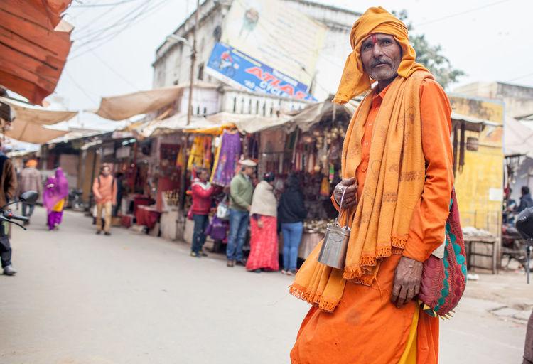 Full length of man standing in market