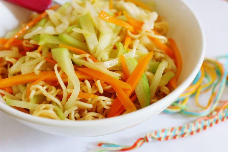 Close-Up Of Spaghetti Bowl
