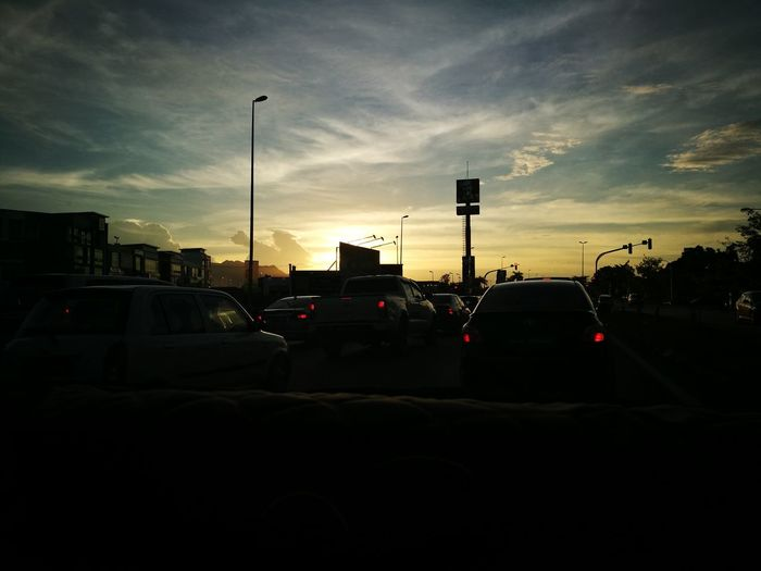 traffic jem Car Cloud - Sky Silhouette Transportation No People Sunset Sky EyeEmNewHere