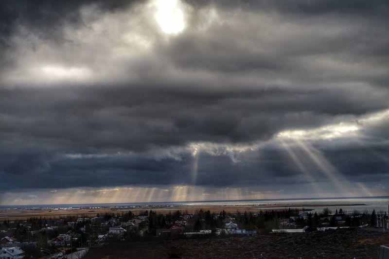 Sun In Clouds Sunset #sun #clouds #skylovers #sky #nature #beautifulinnature #naturalbeauty #photography #landscape Dramatic Sky álftanes Kópavogur