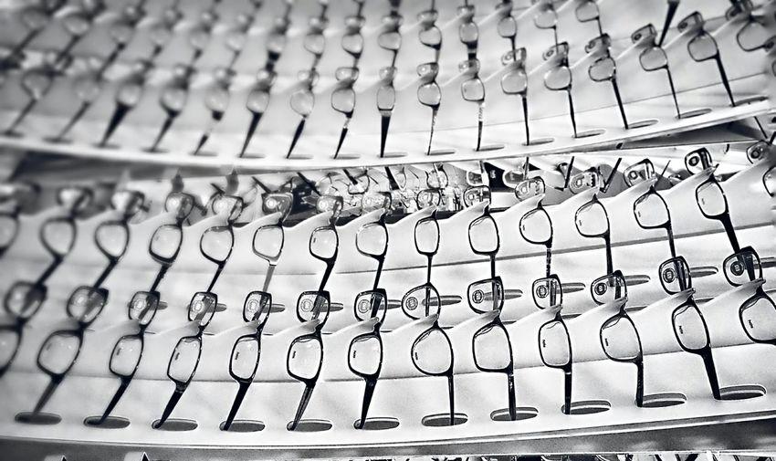 Full frame shot of eyeglasses in shop