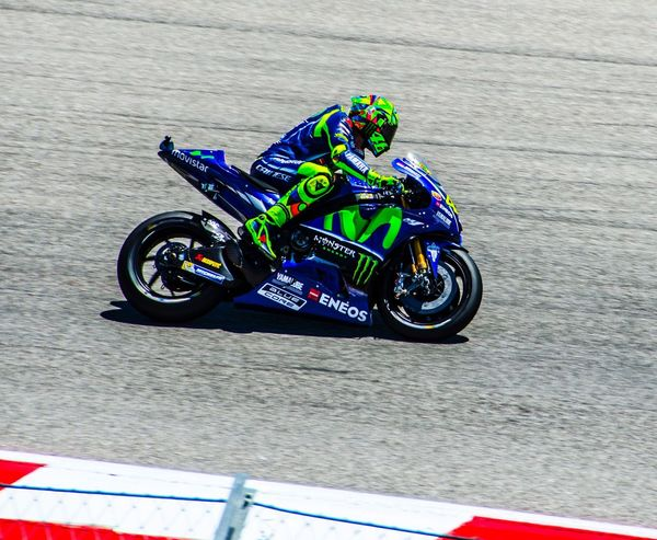 Valentino Rossi, my favorite MotoGP rider, breaking from over 200 mph to go around turn 10 at Circuit of the Americas in 2017. Motorcycle Speed Motorsport Sports Race Crash Helmet Motorcycle Racing Competition Extreme Sports ValentinoRossi VR46 The Doctor 46 Best In The World