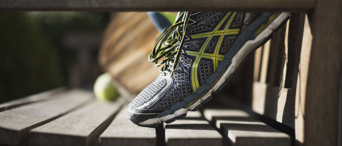 Running shoe resting in sun. Running Running Shoes Shoe Sunlight Asics Asics Gel Bokeh Close-up Day depth of field Detailed No People Outdoors Resting In Sun Running Shoe Shoe Sport Sports Track Wood - Material Wooden Bench