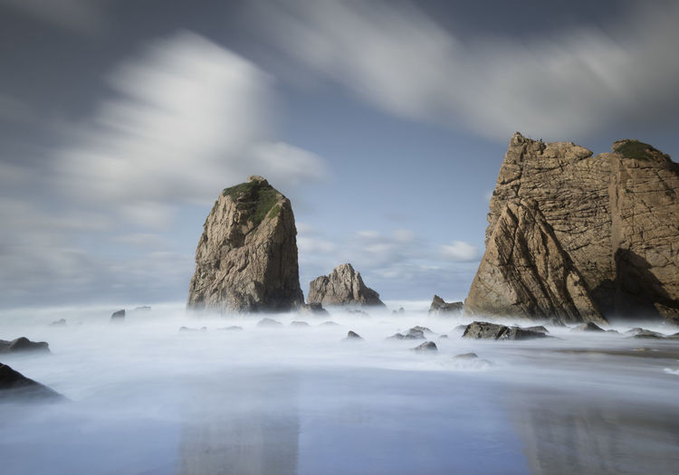 Beauty In Nature Cloud - Sky Day Eroded Idyllic Land Long Exposure Motion Nature No People Outdoors Rock Rock - Object Rock Formation Scenics - Nature Sea Sky Solid Tranquil Scene Tranquility Water