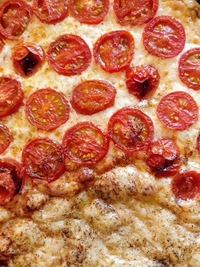 Copy Space Full Frame Directly Above Tarte Senftorte Tomatoes Pizza Close-up Food And Drink Pastry Pie Served Ready-to-eat Serving Size Temptation Pizzeria Indulgence
